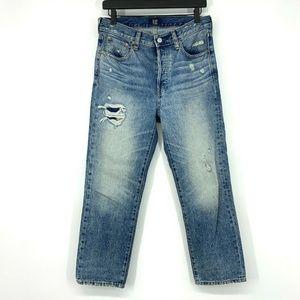 Gap Boyfriend Jeans Blue Distressed Button Fly